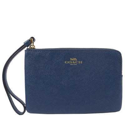 COACH 燙印金色LOGO防刮牛皮經典手拿包(深藍)