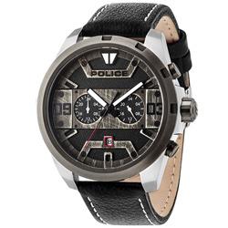 POLICE 復古仿舊雙時區時尚皮革手錶-灰X黑/50mm