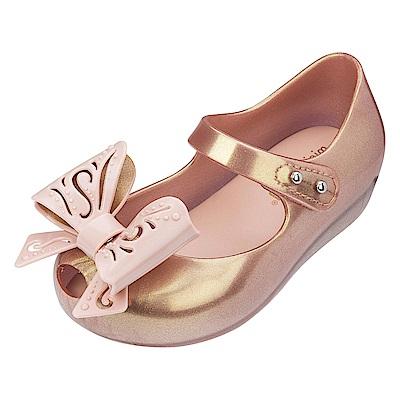 MINI MELISSA 甜美立體鏤雕蝴蝶結童鞋-玫瑰金