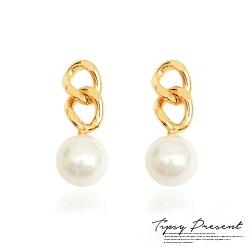 微醺禮物 鍍16K金 鍊條珍珠 耳環 兩色