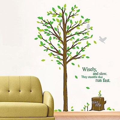 大尺寸高級創意壁貼 / 牆貼  花草系列-青春樹