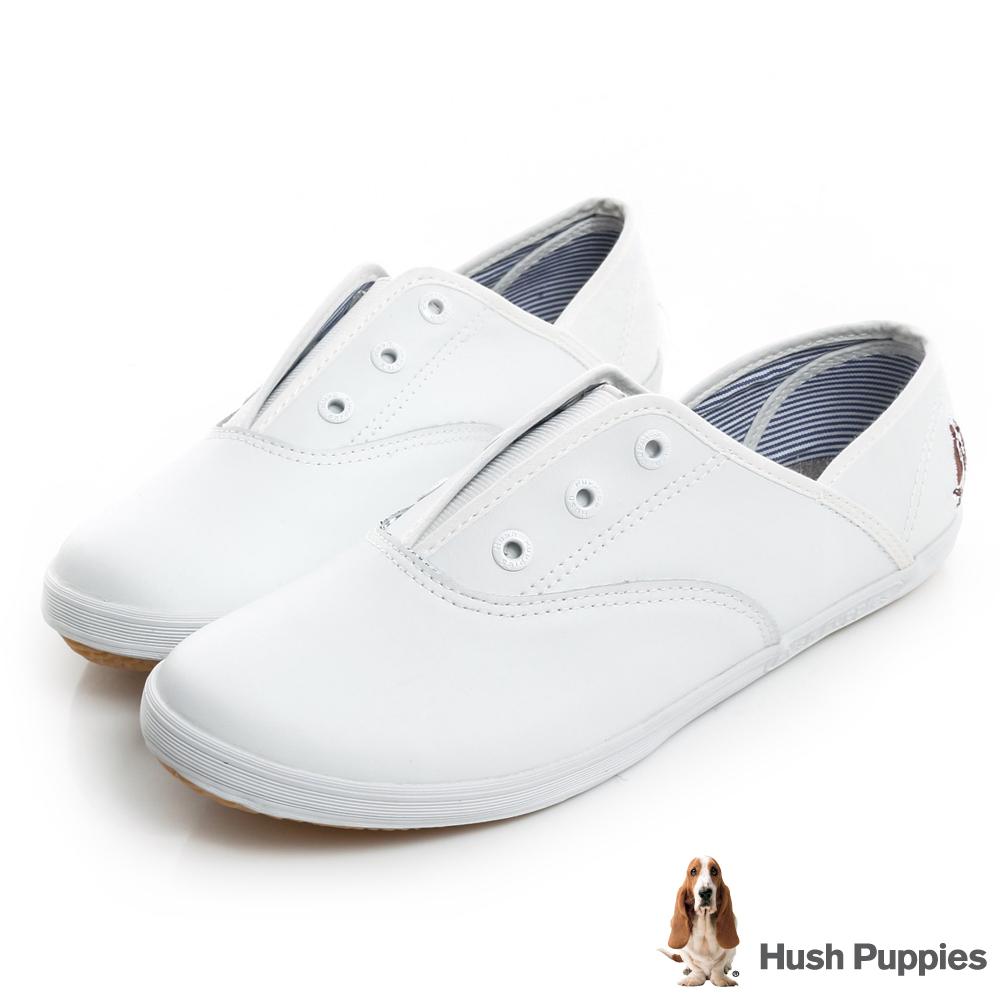 Hush Puppies 質感真皮咖啡紗帆布鞋-白色