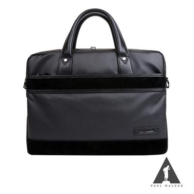 Paul Walker 東京都會系列拉鍊手提斜背公事包 時尚黑