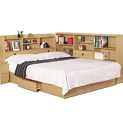 品家居 凱倫5尺收納床台側櫃組合(不含床墊)-175.5x211x104.5cm免組