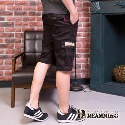 Dreamming 街頭潮感素面休閒鬆緊工作短褲-黑色