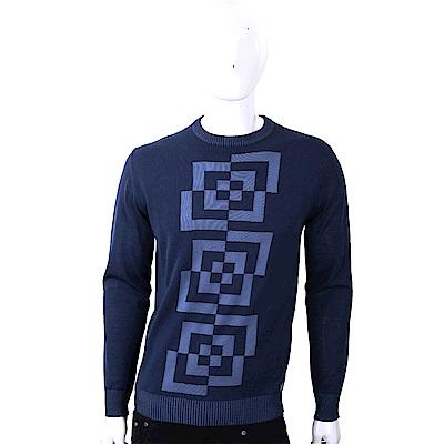VERSACE 幾何切割圖形深藍色針織羊毛衫