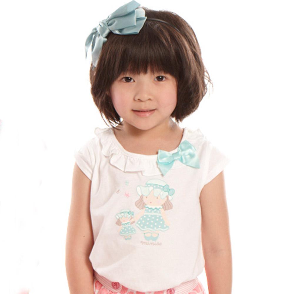 愛的世界 MYBABY 純棉荷葉圓領半袖上衣-白色/4~8歲