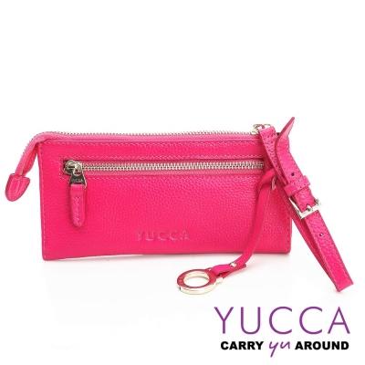 YUCCA - 俐落多彩手挽式長夾-桃紅色-10790012009
