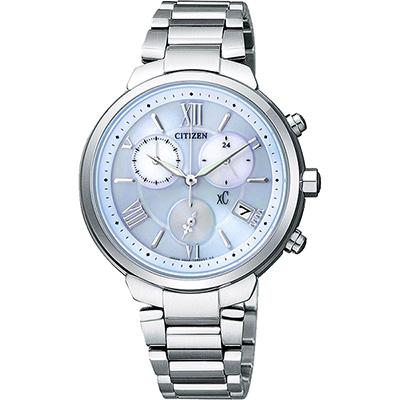 CITIZEN XC 浪漫城市鈦金屬光動能計時腕錶(FB1330-55L)-藍/35mm