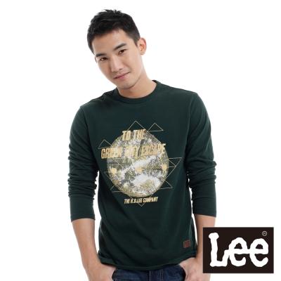 Lee-長袖厚T-圓領相片印刷金蔥燙印-男款-綠