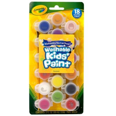 美國crayola 可水洗系列-可水洗18色兒童顏料