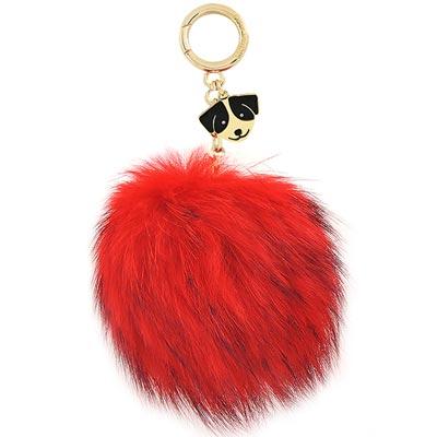 MICHAEL KORS Fur Dog Pom Pom狗狗毛球鑰匙圈吊飾-大型(紅色)