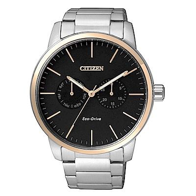CITIZEN 極簡風格光動能腕錶/黑x玫瑰金/AO9044-51E