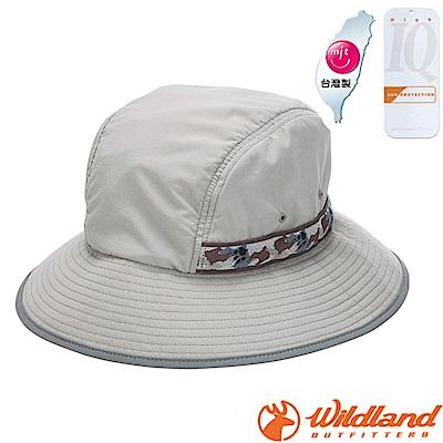 荒野WildLand中性抗UV織帶防曬圓盤帽.漁夫帽.大盤帽中灰