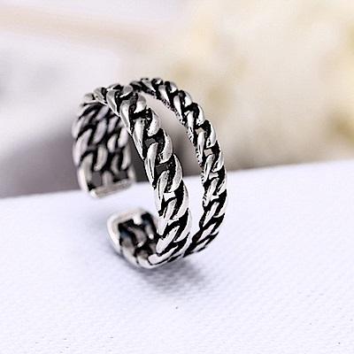 梨花HaNA 韓國復古銀開口鎖鍊雙層個性戒指