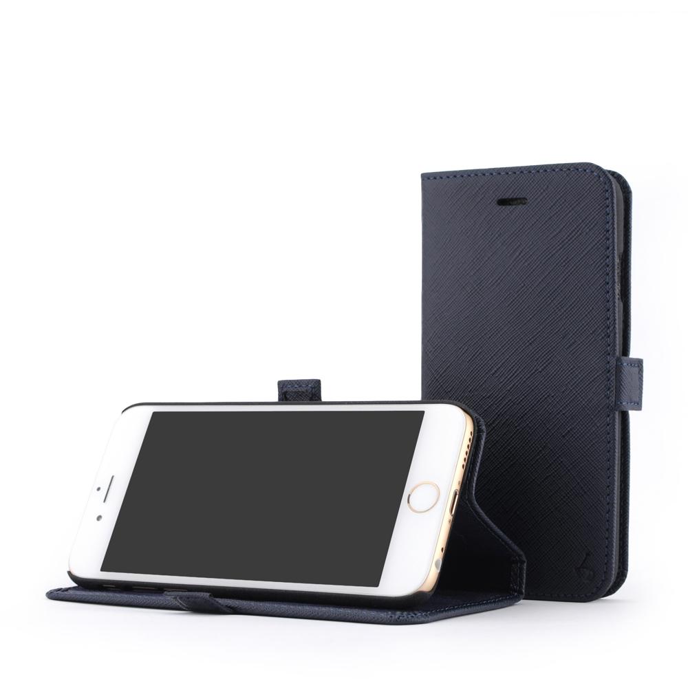 STORY皮套王 iphone 6 /6s  摺邊折疊式 十字紋藍現貨皮套