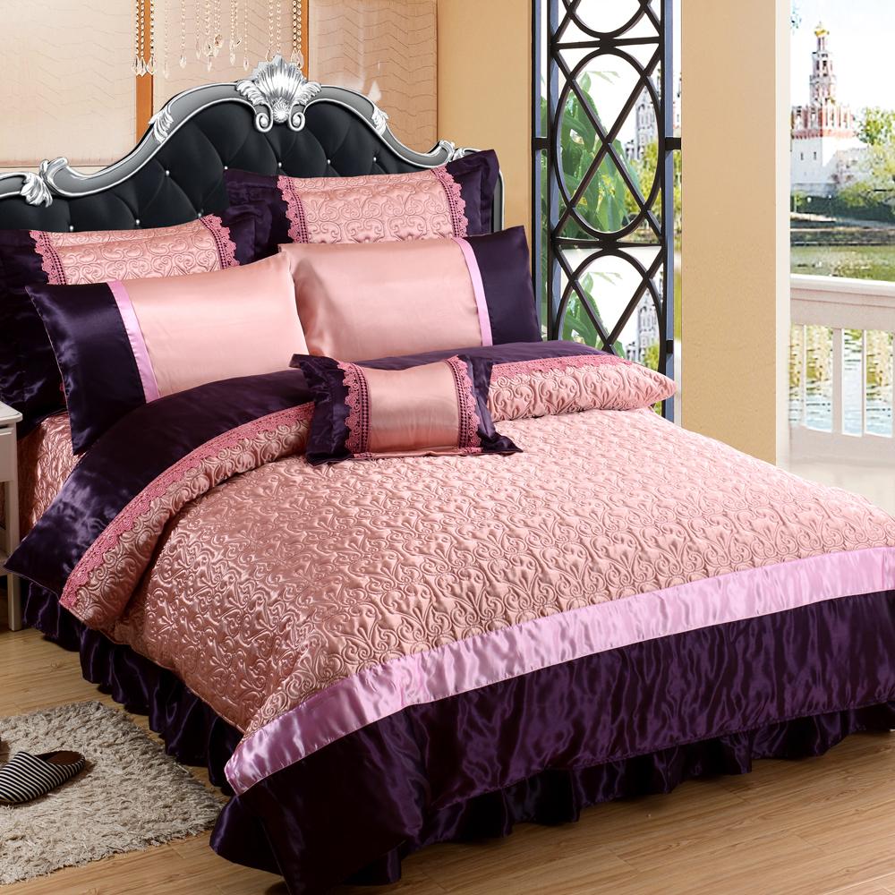 HOYACASA富麗璀璨-紫 雙人八件式絲緞蕾絲兩用被床罩組