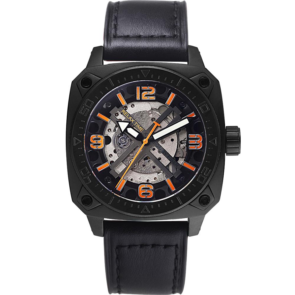 RELAX TIME RT39 【X】 深海潛將機械腕錶-IP黑x橘/49mm