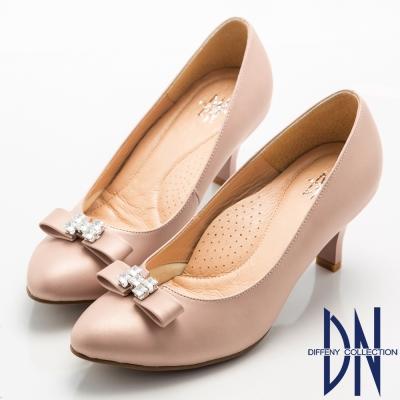 DN-晚宴婚嫁款-霧面珠光全真皮蝴蝶結鑽飾跟鞋-粉