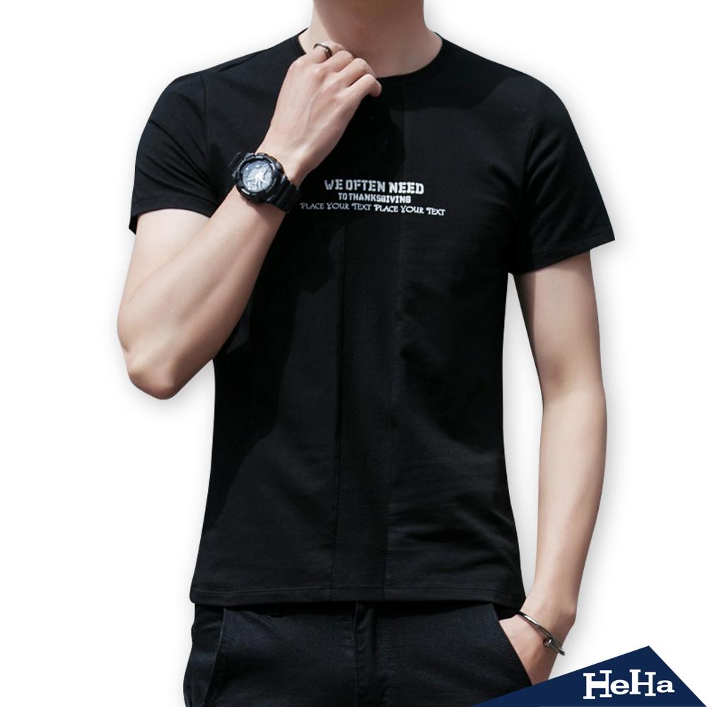 英文字母圖騰短袖T恤 三色-HeHa