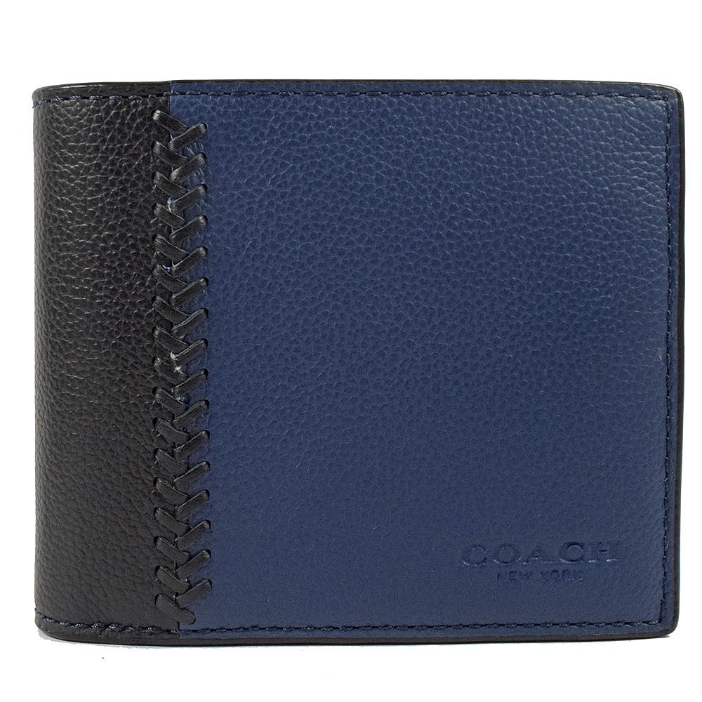 COACH荔枝牛皮雙色附活動夾八卡短夾(深藍)
