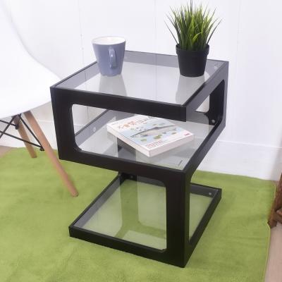 凱堡 幾何無違和三層玻璃 邊桌 茶几40x40x52cm