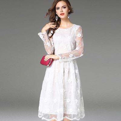 ABELLA 艾貝拉 花紋透膚白紗蓬蓬波浪裙擺收腰洋裝(M-2XL)