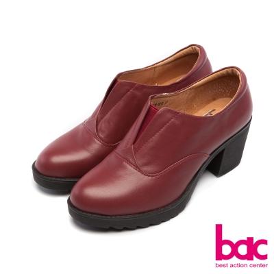 bac新世代龐克簡約素面V口紳士粗跟鞋紫紅