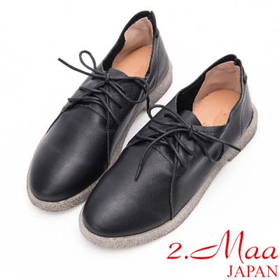 2.Maa - 極簡設計牛皮綁帶休閒小圓頭便鞋-黑