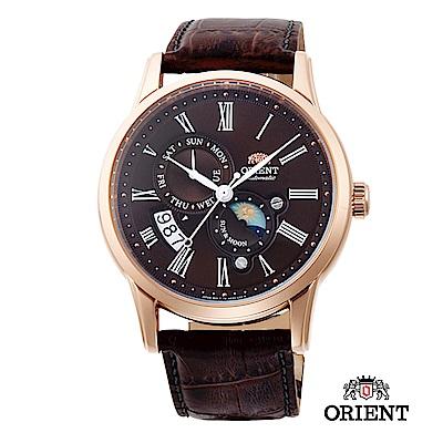 ORIENT 東方錶 SUN&MOON系列 日月相錶 皮帶款 咖啡色-42.5mm