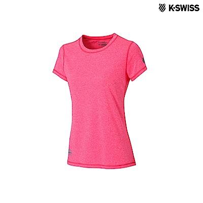 K-Swiss Coverseam Panel Tee排汗T恤-女-玫紅