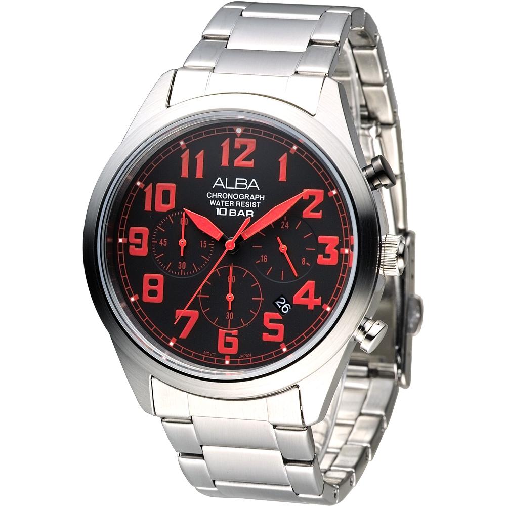 ALBA雅柏手錶 個性潮流三眼碼錶計時男錶-紅刻(AT3533X1)/43mm 保固二年