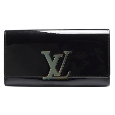 LV M61316經典MONOGRAM VERNIS漆皮品牌字母金屬LOGO暗釦長夾(黑)