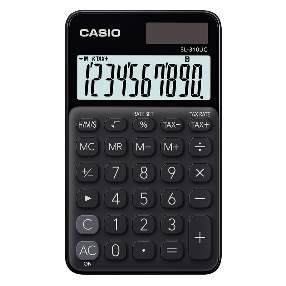 CASIO 10位元甜美馬卡龍輕巧口袋型計算機(SL-310UC-BK)-蜜黑糖