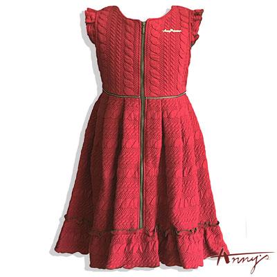 Anny浪漫荷葉壓紋彈性厚棉拉鍊洋裝*5407紅