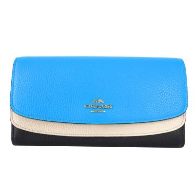 COACH-專櫃款雙翻蓋三折皮革長夾-藍-白