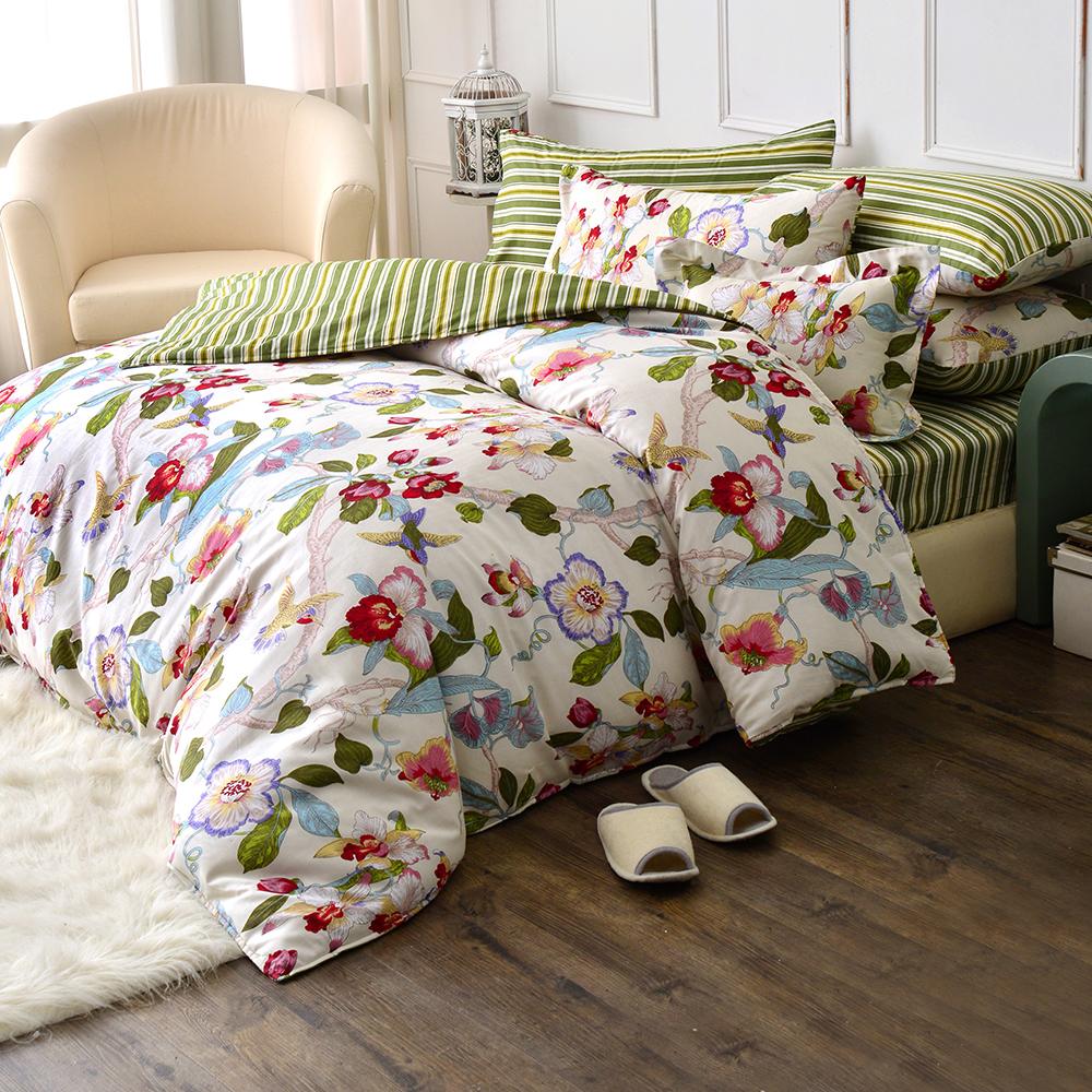(快到活動)GL 心之飛葉 精梳純棉單人兩用被床包三件組