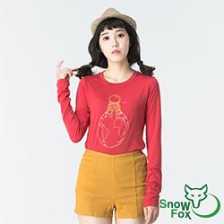 【SNOWFOX 雪狐】質輕透氣不悶熱 防曬女款長袖圖T恤 ATL-81656W 紅