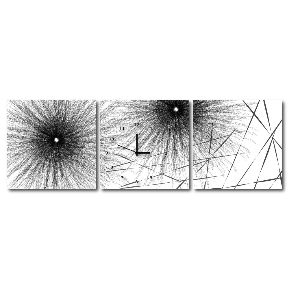 24mama掛畫 - 三聯式無框藝術掛畫時鐘-迴景天花40x40cm