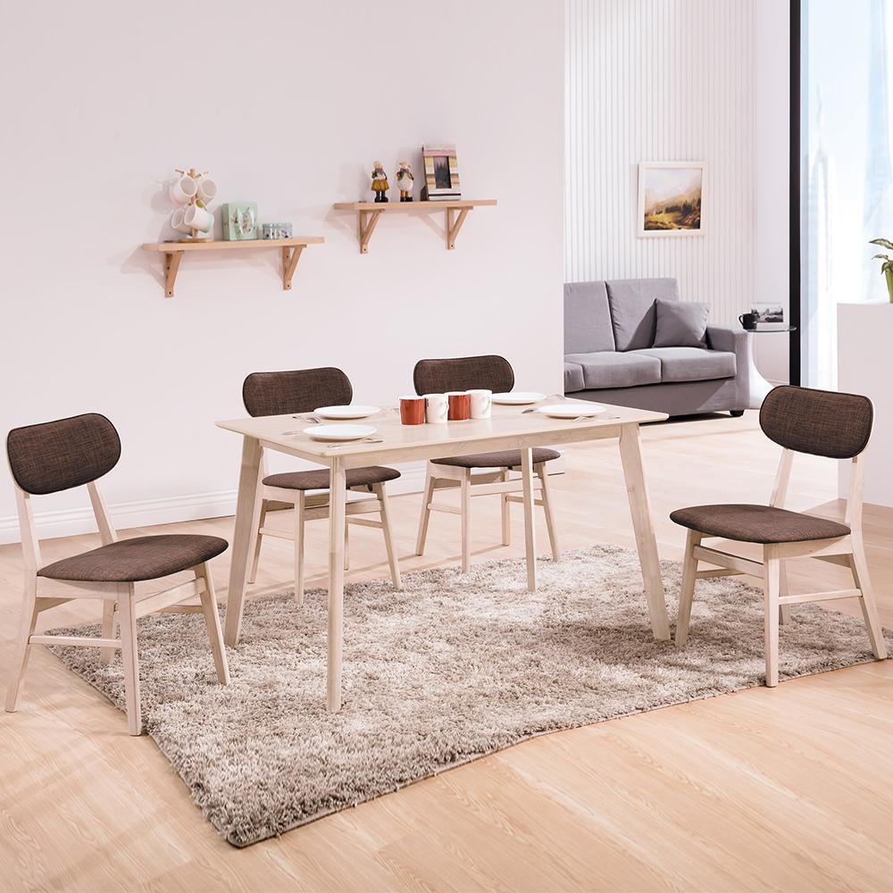 Bernice-菲德4尺北歐風餐桌椅組(一桌四椅)兩色-120x75x75cm