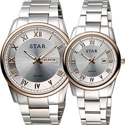 STAR 時代 羅馬城市時尚對錶-銀x玫瑰金框/43+32mm