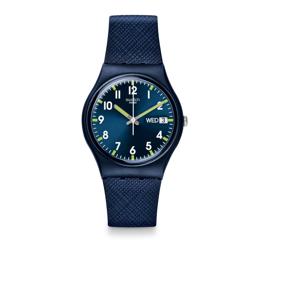 Swatch 原創系列 SIR BLUE 奢華藍絨手錶-34mm