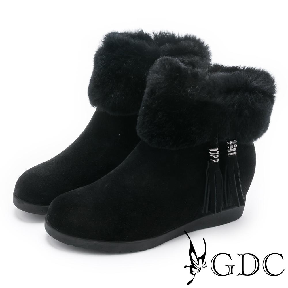 GDC-流蘇毛毛真皮短靴-黑色