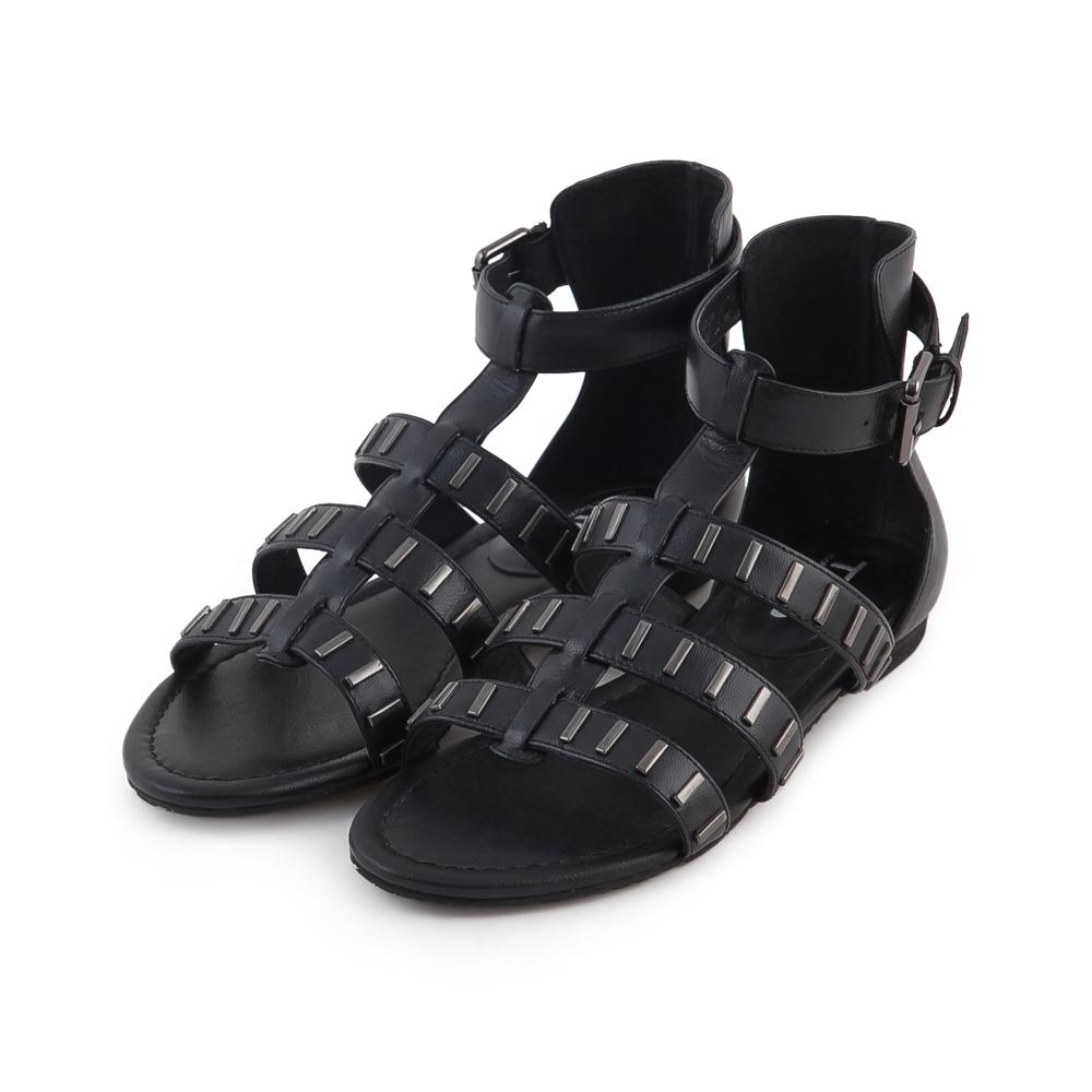 TAS 率性金屬裝飾魚骨繫帶羅馬涼鞋-百搭黑