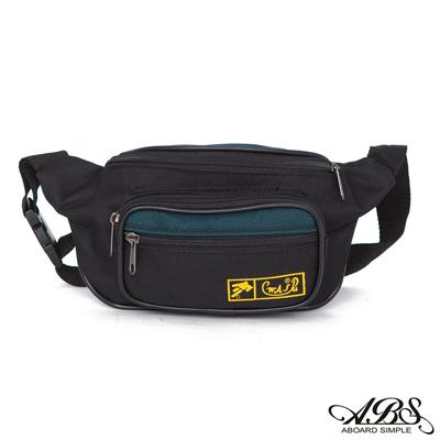 ABS愛貝斯 輕量防潑水船型腰包 旅行防搶包(黑/綠)728