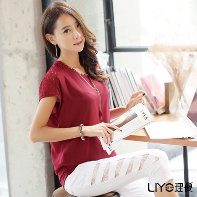 LIYO理優假兩件式寬袖雪紡上衣(暗紅)