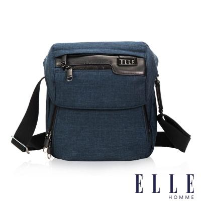 ELLE HOMME 精湛優雅紳士風範IPAD極致高質感直式掀蓋休閒側背包-深藍