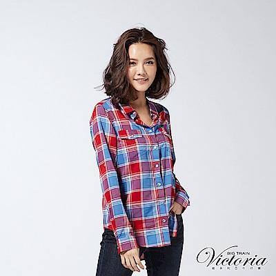 Victoria 格紋中長版長袖襯衫-女-紅藍格