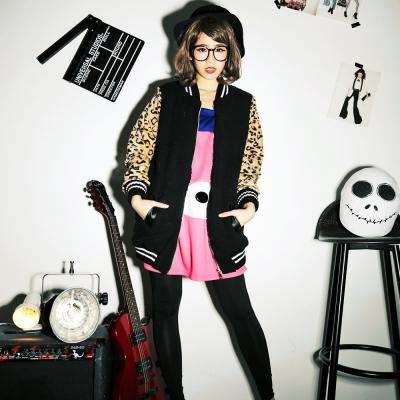 【La Belleza】古著‧豹紋接袖毛絨絨背女孩圖案拉鍊外套