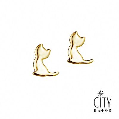City Diamond引雅【東京Yuki】10K貓貓剪影貓咪黃K耳環